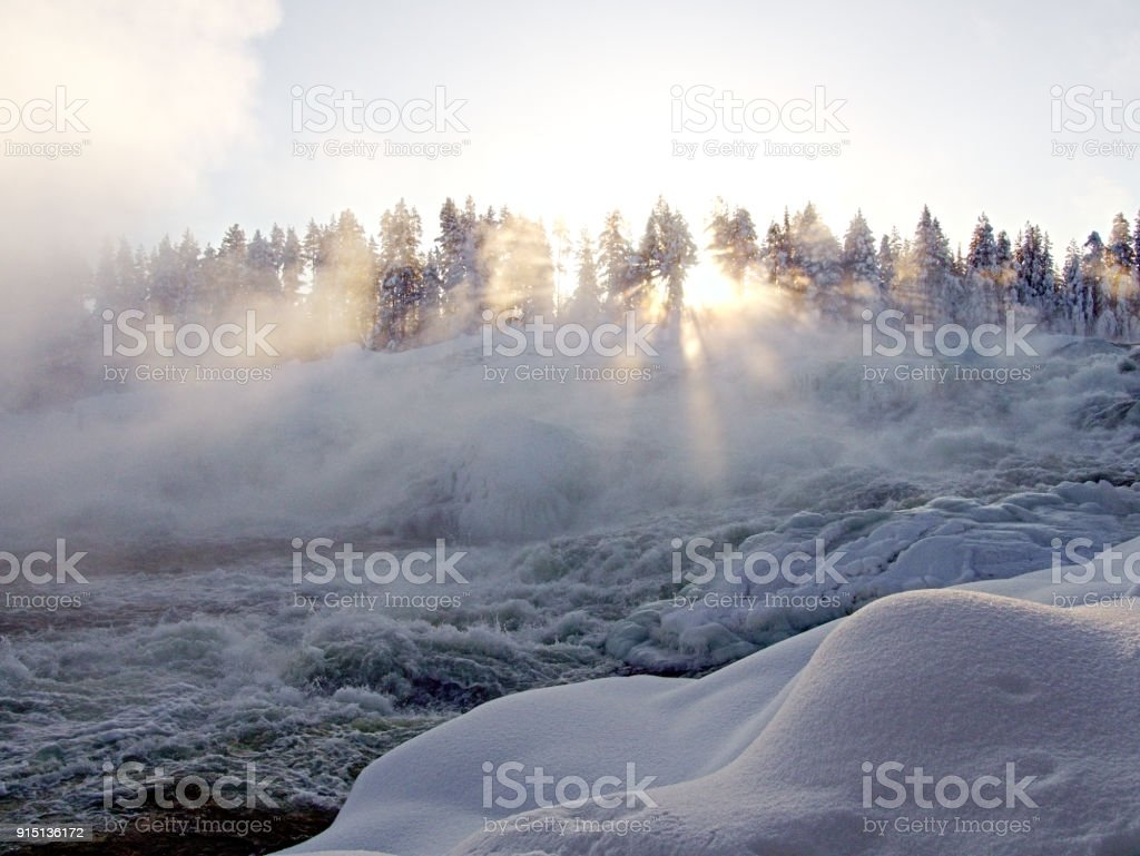 Waterfall Storforsen stock photo