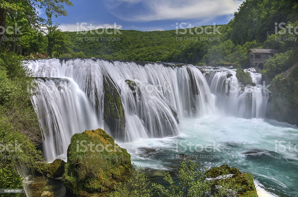 Waterfall Strbacki Buk on Una river stock photo