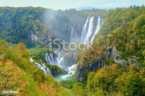 Waterfall the Plitvice Lakes in Croatia