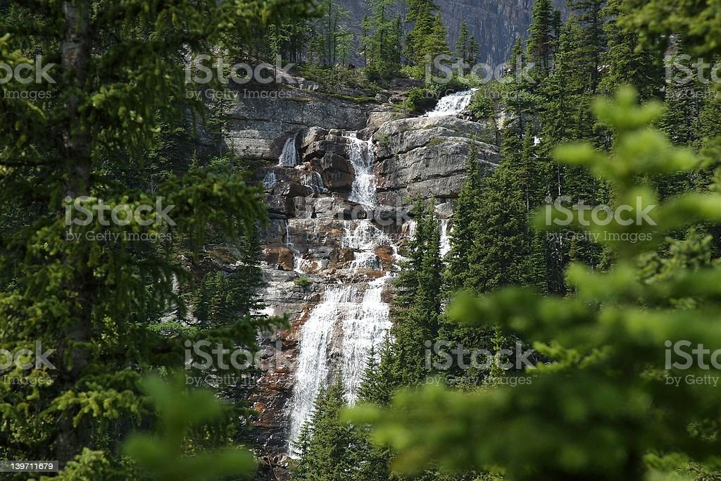 Waterfall through trees royalty-free stock photo