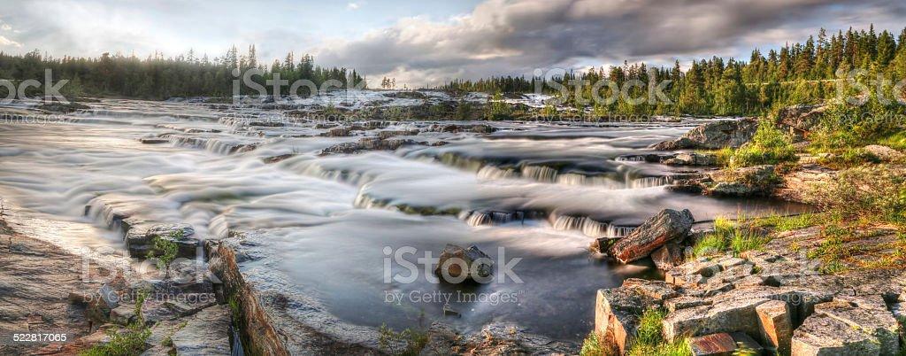 Waterfall Trappstegsforsen (North Sweden near Vilhelmina) stock photo