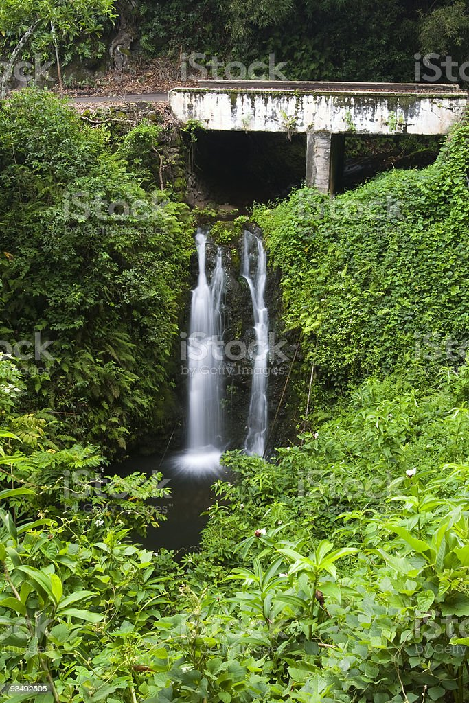 Waterfall under a Bridge Hawaii royalty-free stock photo
