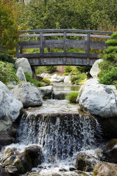 Waterfall under bridge stock photo