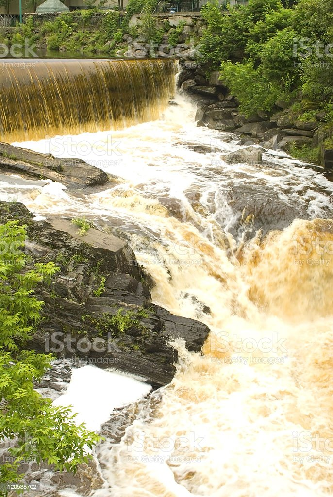 waterfall view from watermill stock photo