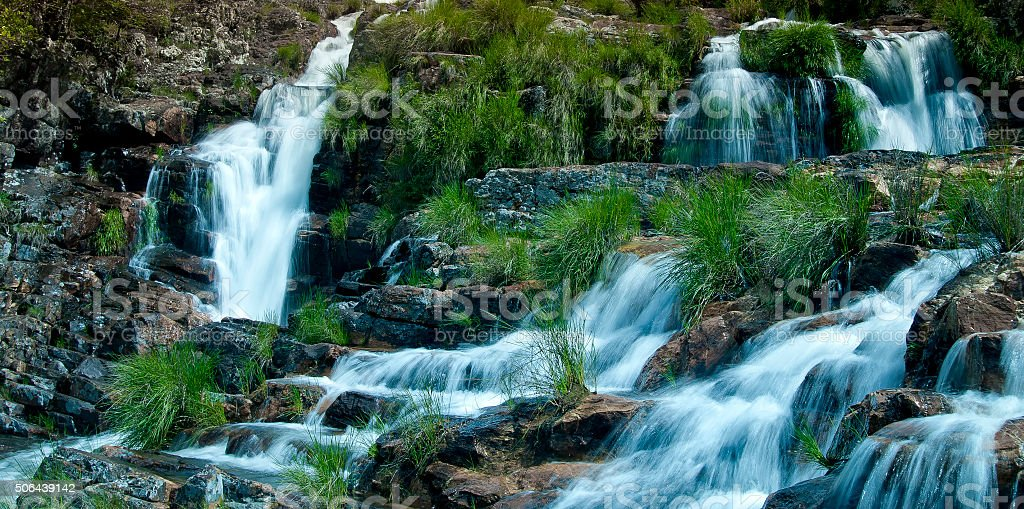 Waterfall view stock photo