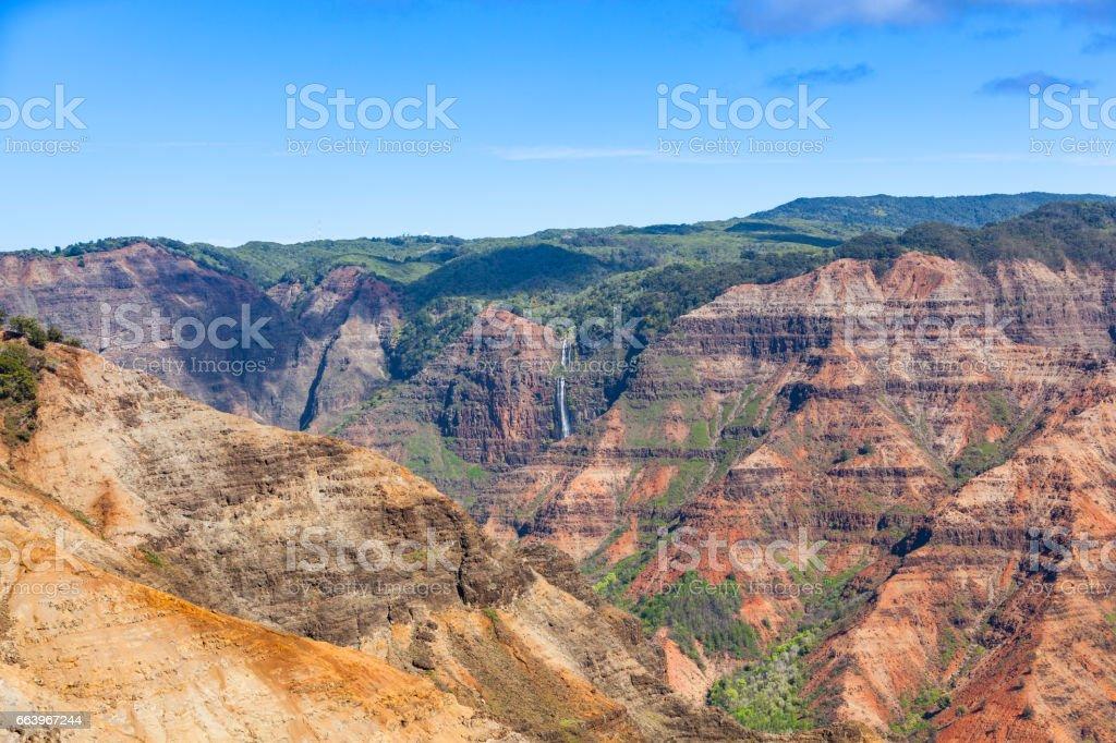 waterfall waimea canyon kauai, hawaii islands stock photo