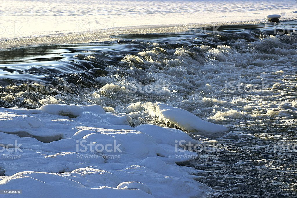Waterfall winter time royalty-free stock photo