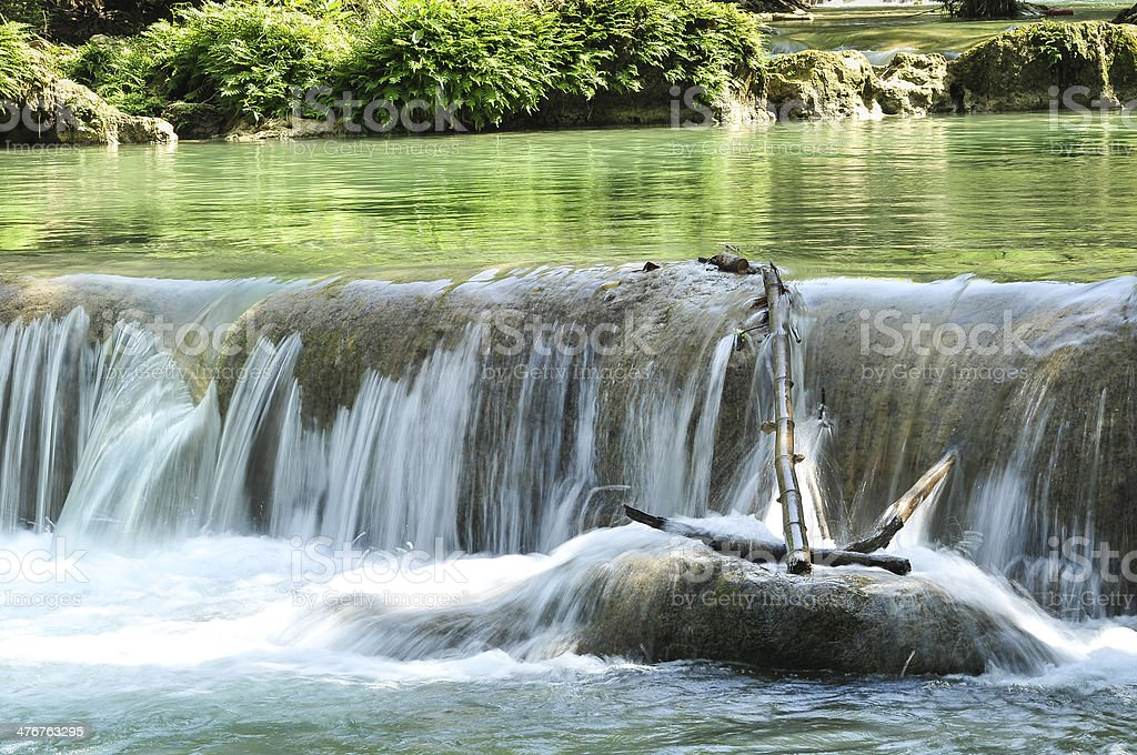 waterfall with anchor timber royalty-free stock photo
