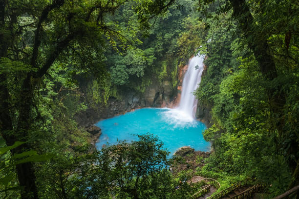 Waterfall with blue water stock photo