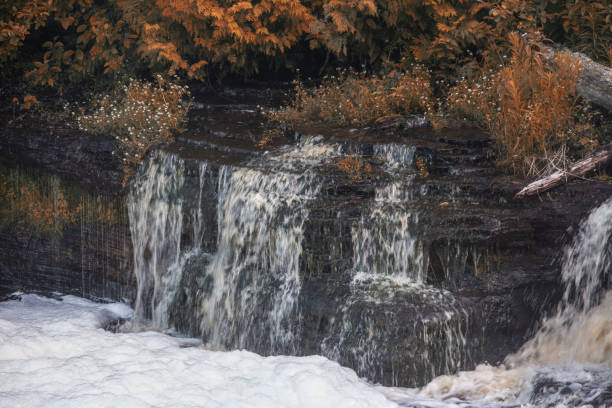 Waterfall with Fall Colors stock photo