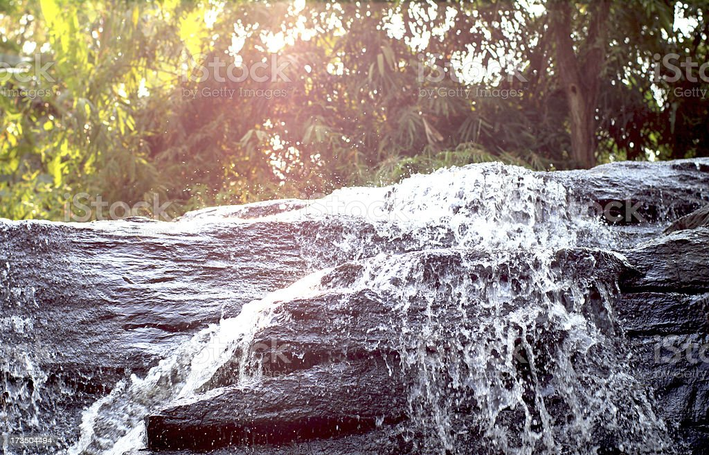 Waterfall with Lens Flare royalty-free stock photo