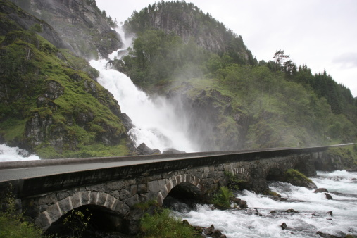 Waterfall With Road Stock Photo - Download Image Now
