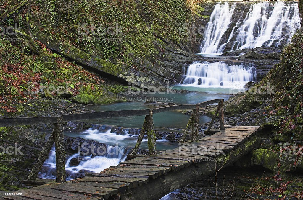Waterfall with the bridge 2 royalty-free stock photo