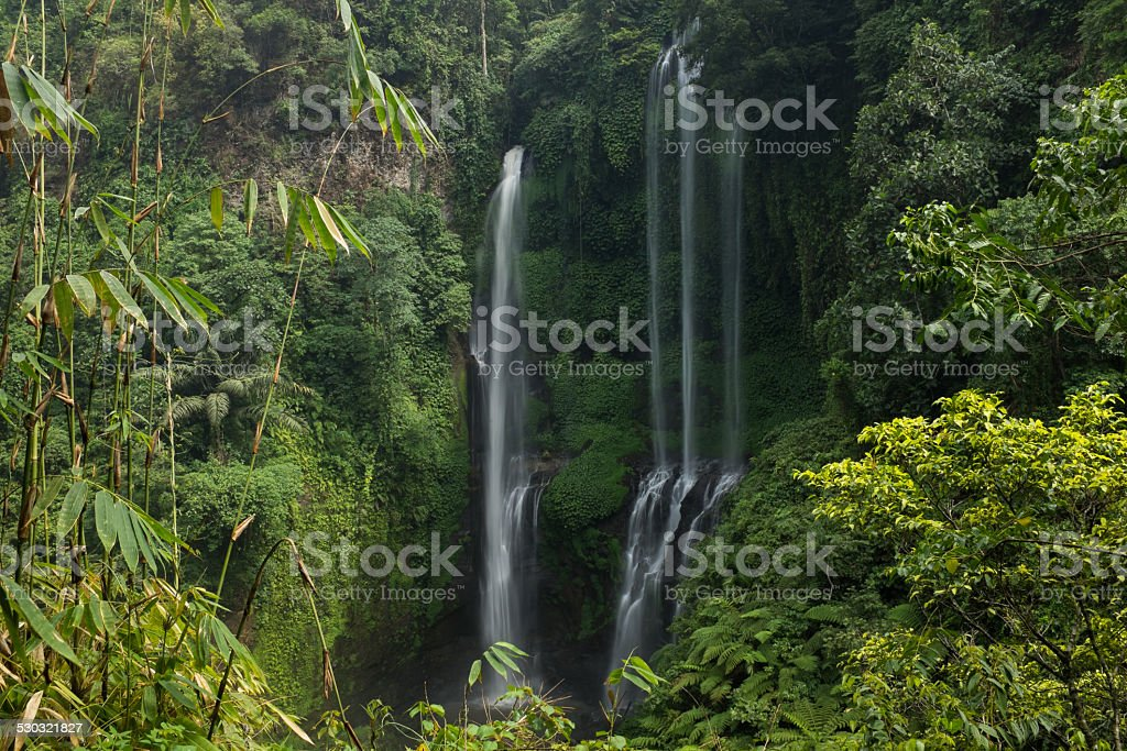 Waterfall with two sources stock photo