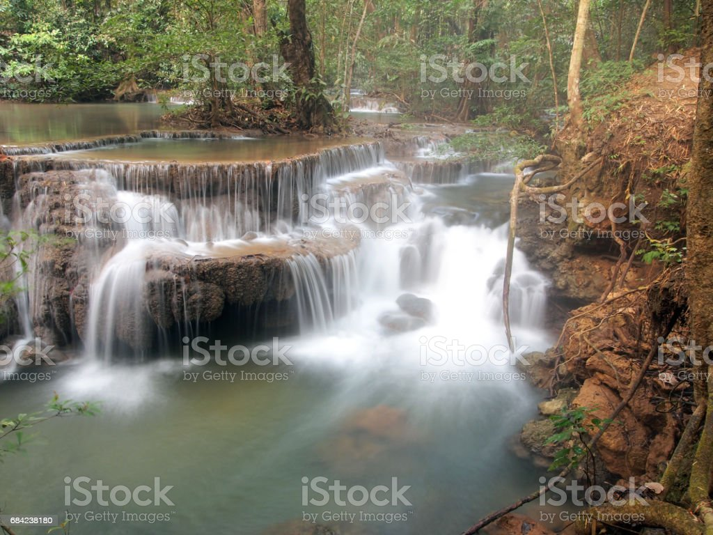 Waterfall with water flowing around photo libre de droits