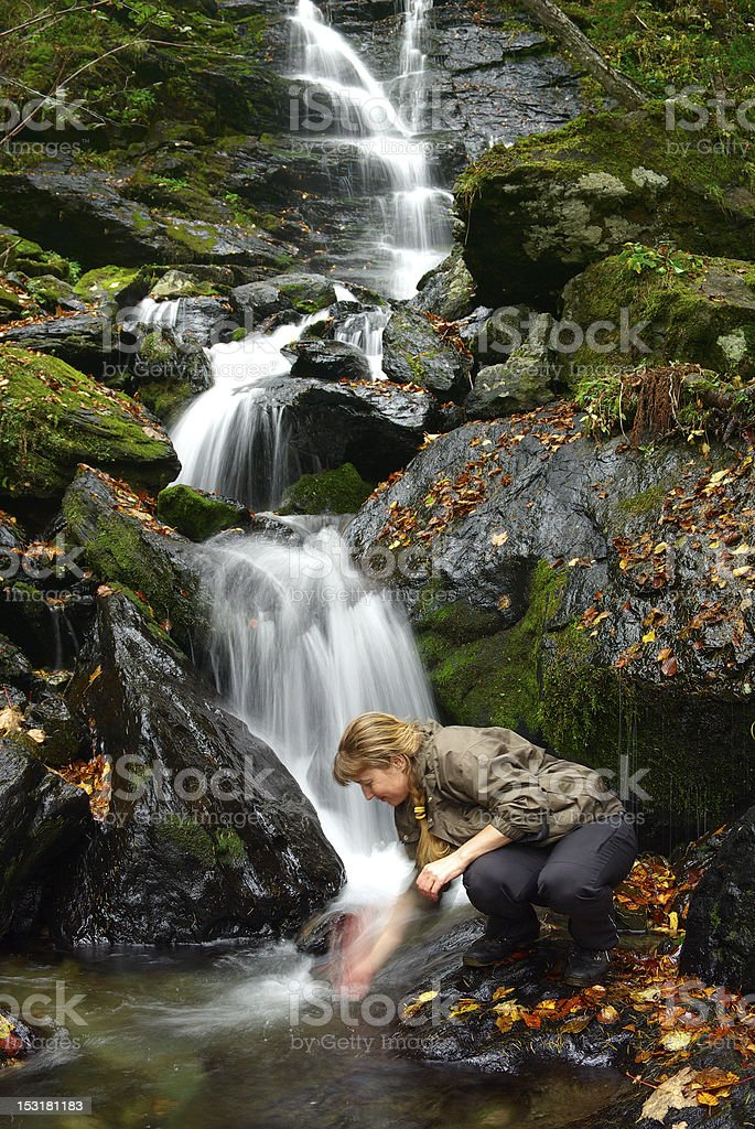 Waterfall woman royalty-free stock photo