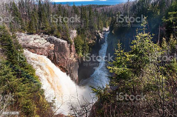 Photo of waterfalls and boreal forest