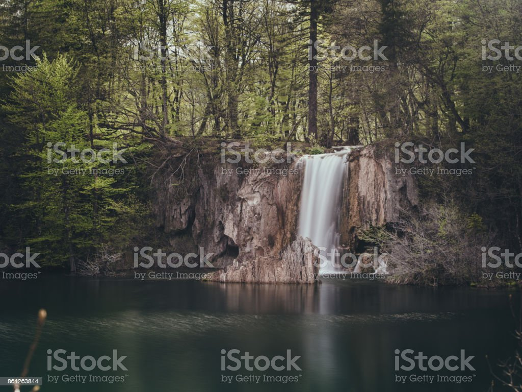 Waterfalls and forest in Plitvice national park in Croatia royalty-free stock photo