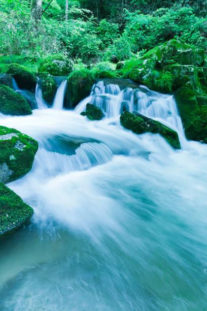 Waterfalls and Mountain Stream Scene in Japan stock photo