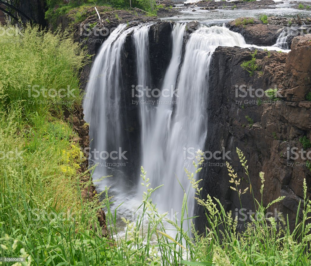 Waterfalls at Great Falls Historic Park in Paterson stock photo