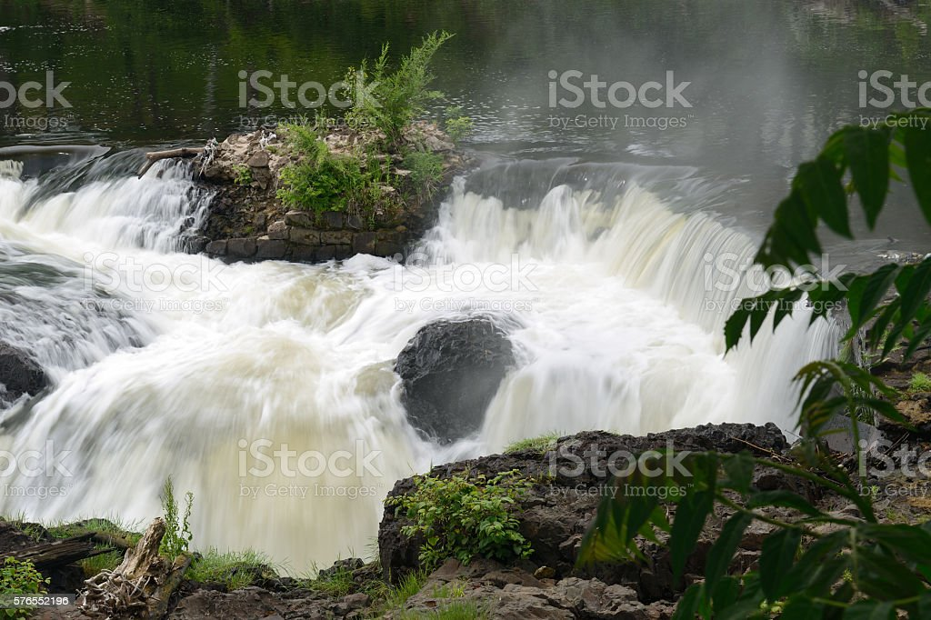Waterfalls at Great Falls National Historic Park in Paterson stock photo