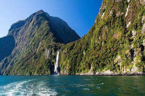 Waterfalls at Milford Sound, Fiordland, New Zealand