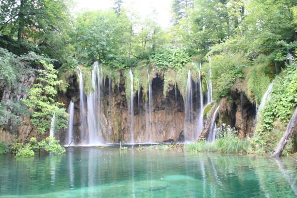 Waterfalls at Plitvice lakes stock photo