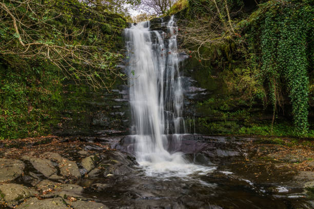Waterfalls, Blaen-y-glyn, Powys, Wales, UK A waterfall in Blaen-y-glyn near Torpantau, Powys, Wales, UK brecon beacons stock pictures, royalty-free photos & images