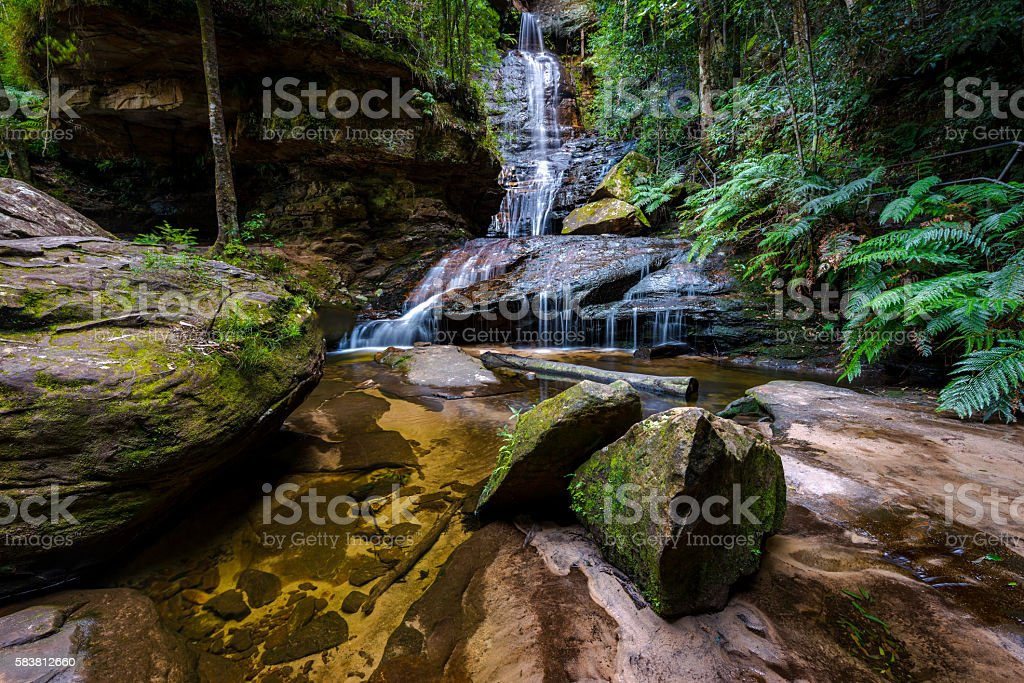 Waterfalls in Blue Mountains national park stock photo