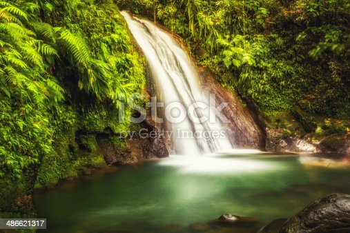 Waterfalls In Caribbean Rainforest On Martinique
