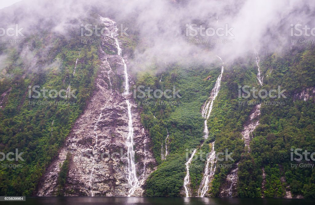 Waterfalls in Doubtful sound stock photo