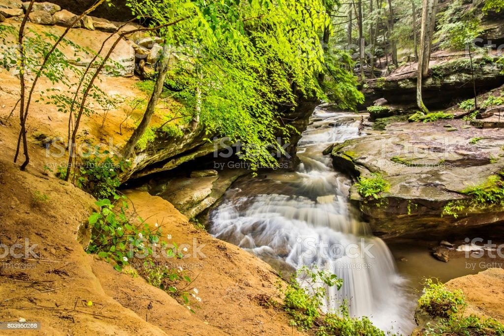Waterfalls in Hocking Hills State Park Ohio stock photo