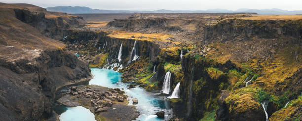waterfalls in iceland - borchee stock pictures, royalty-free photos & images