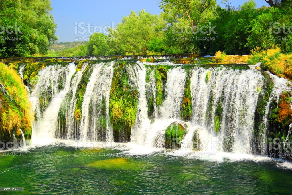 Waterfalls in Kocusa on river Trebizat in Bosnia and Herzegovina stock photo