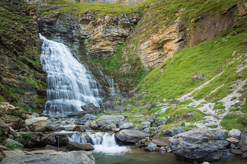 Waterfalls in Ordesa and monte perdido national park in Pyrinees range in Spain, Huesca, Cola de Caballo