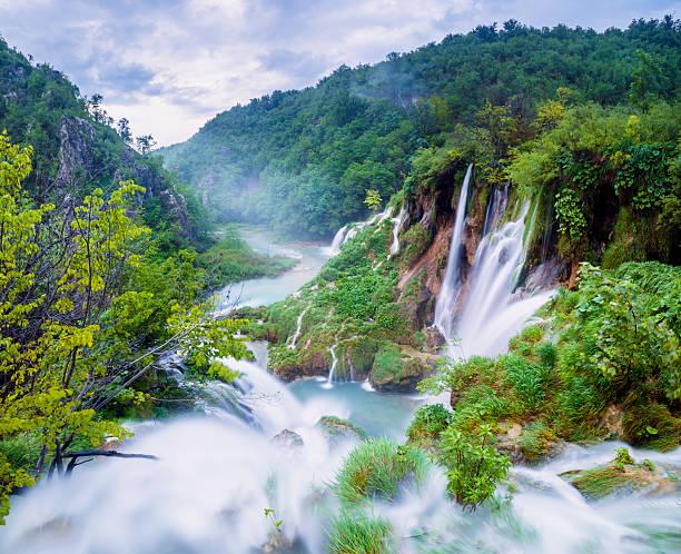 wasserfälle im nationalpark plitvicer seen, kroatien  - nationalpark plitvicer seen stock-fotos und bilder