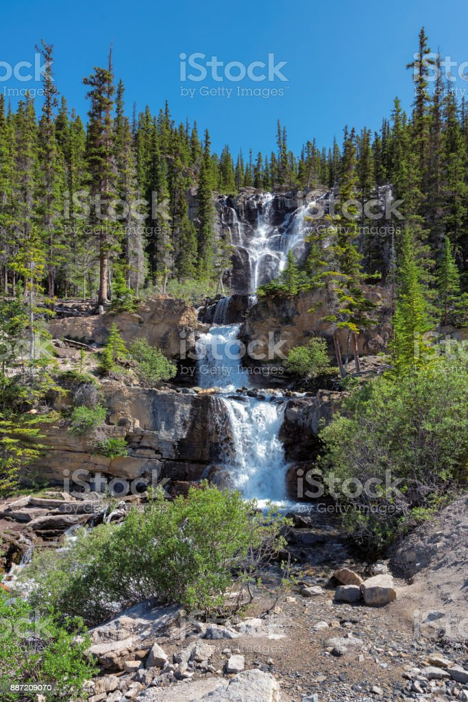 Waterfalls in Rocky Mountains stock photo