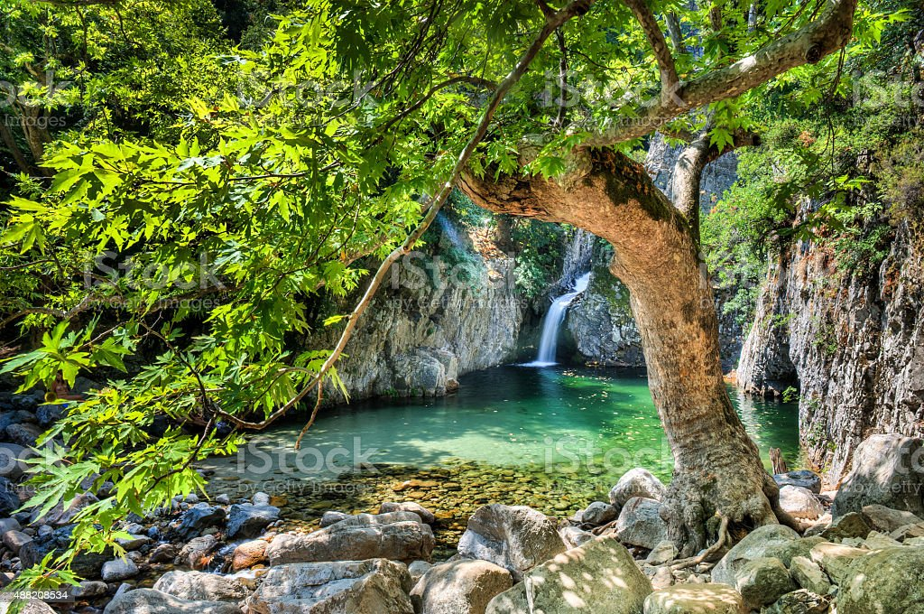 Waterfalls in Samothraki  'Vathres' in Nothern Greece stock photo
