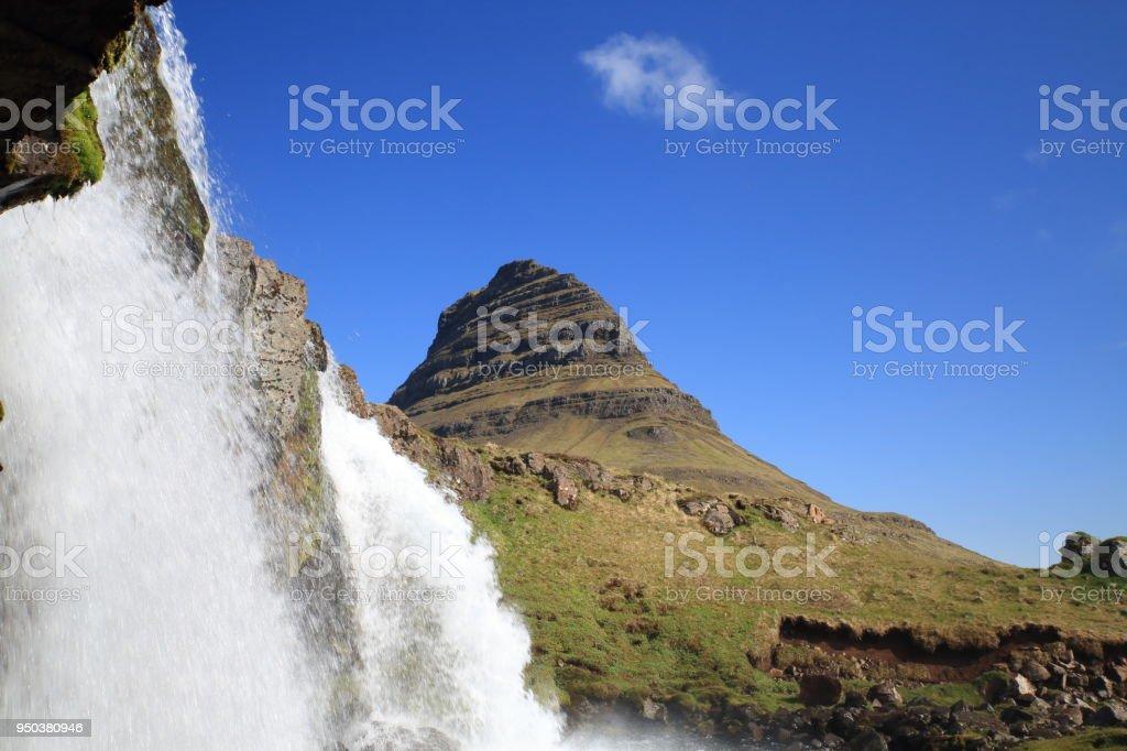 Waterfalls. Kirkjufell Mountain,Iceland stock photo
