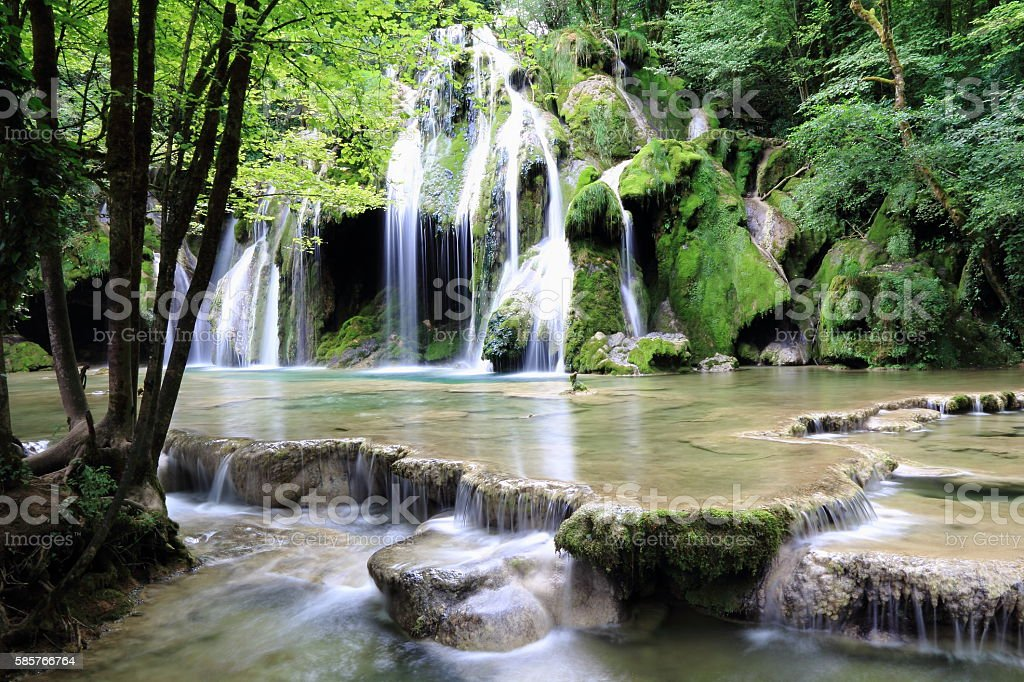 Waterfalls of Arbois stock photo