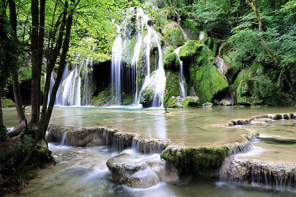 Waterfalls of Arbois Waterfalls of Tufs to Arbois in Jura tuff stock pictures, royalty-free photos & images
