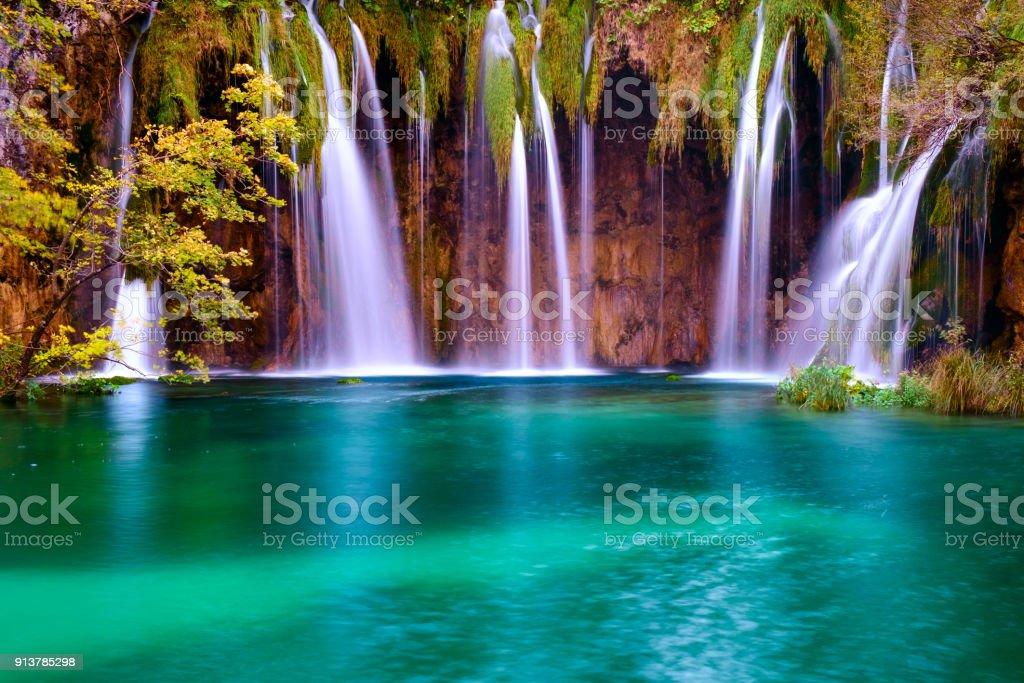 Waterfalls of Plitvice National Park Waterfalls of Plitvice National Park in Croatia Autumn Stock Photo
