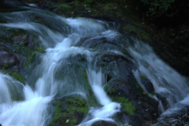 Waterfalls on a mountain river stock photo