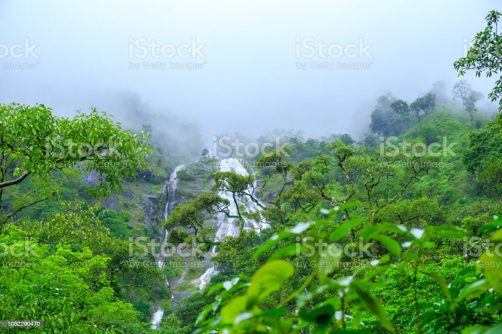 Waterfalls on Flores Island Azores Portugal stock photo
