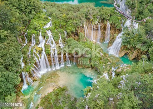 Aerial panorama of the beautiful staircase Waterfalls, Plitvice Lakes National Park, Croatia. Converted from RAW.