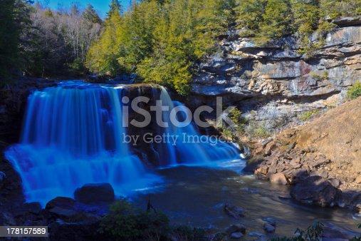 istock Waterfalls, tannin colored stream and rocks 178157589