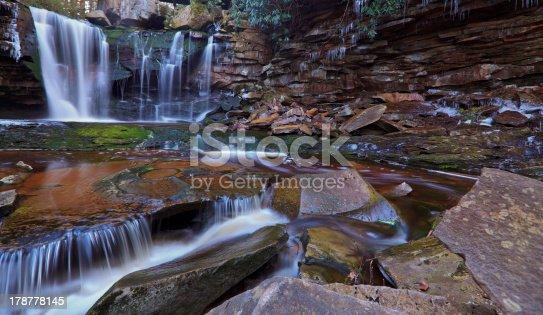 istock Waterfalls, tannin colored stream and rocks 178778145