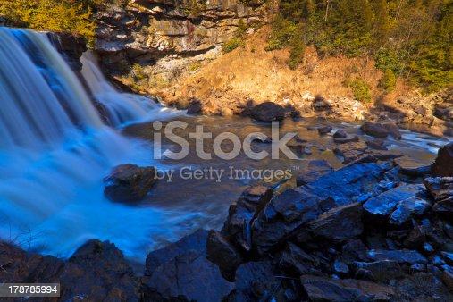 istock Waterfalls, tannin colored stream and rocks 178785994