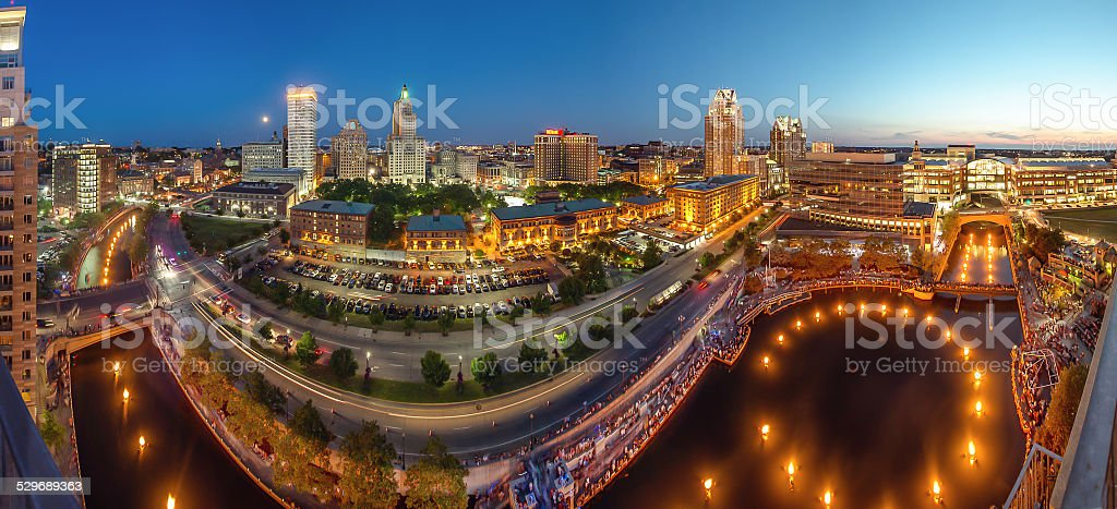 Waterfire, an outdoor art event in providence rhode island stock photo