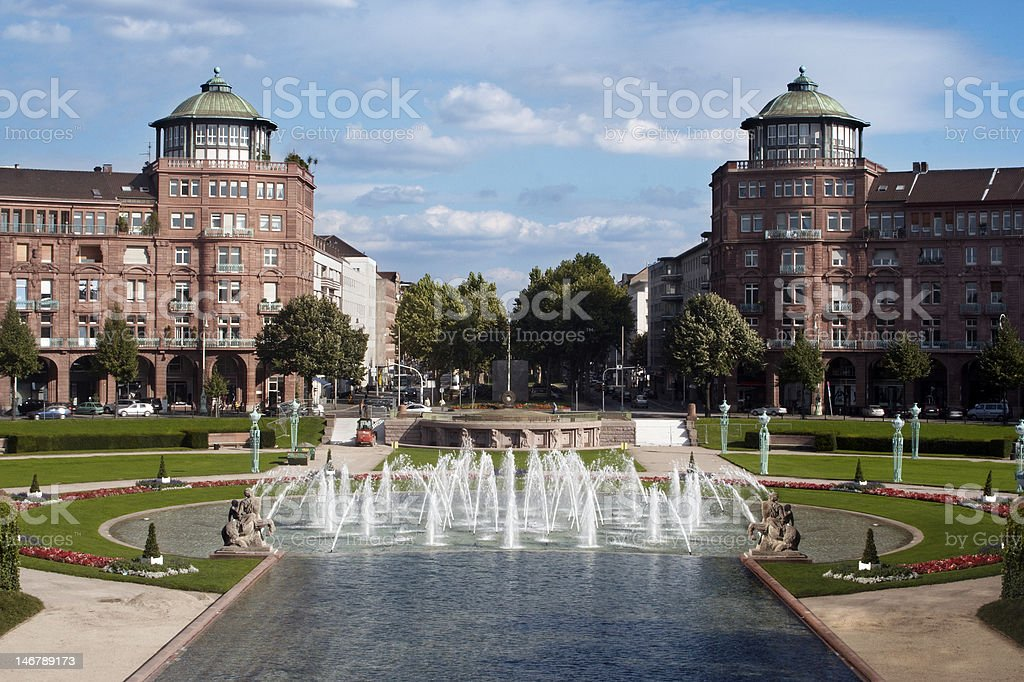WaterFontains in a Park stock photo